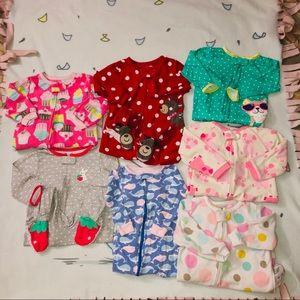 18 Month Lot Of 7 Long Sleeve Footie One Pieces